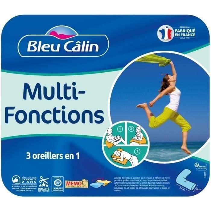 BLEU CALIN Oreiller MULTI-FONCTIONS MEMOFILL - Forme V - Rouge bourgogne