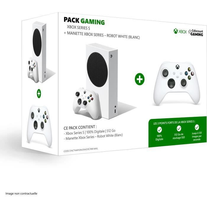 Console Xbox Series S - 512 Go + 2ème Manette Xbox Series sans fil - Robot White / Blanc