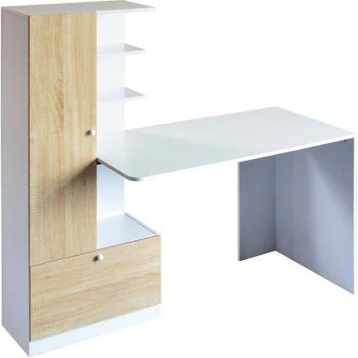 Bureau avec étagères - Blanc - L 160 x P 60 x H 135 cm - ACADEMY