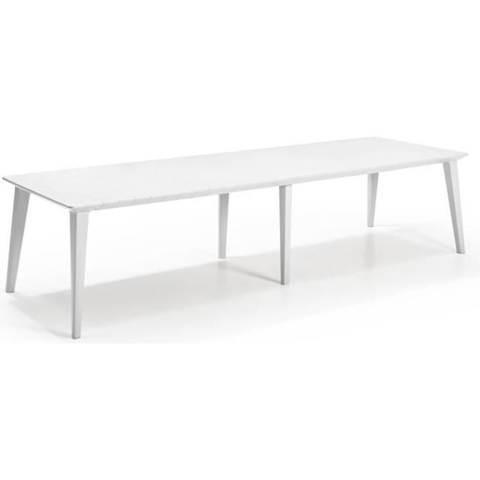 Table Design contemporain 320cm Blanc - ALLIBERT BY KETER - 8 à 10 personnes avec allonge - LIMA