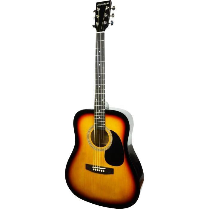 SUZUKI Guitare folk sunburst avec housse de protection
