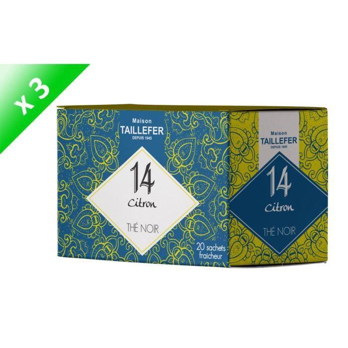 [LOT DE 3] MAISON TAILLEFER Thé Noir Citron en Boite de 20 Sachets Individuels