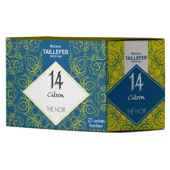 MAISON TAILLEFER Thé Noir Citron en Boite de 20 Sachets Individuels