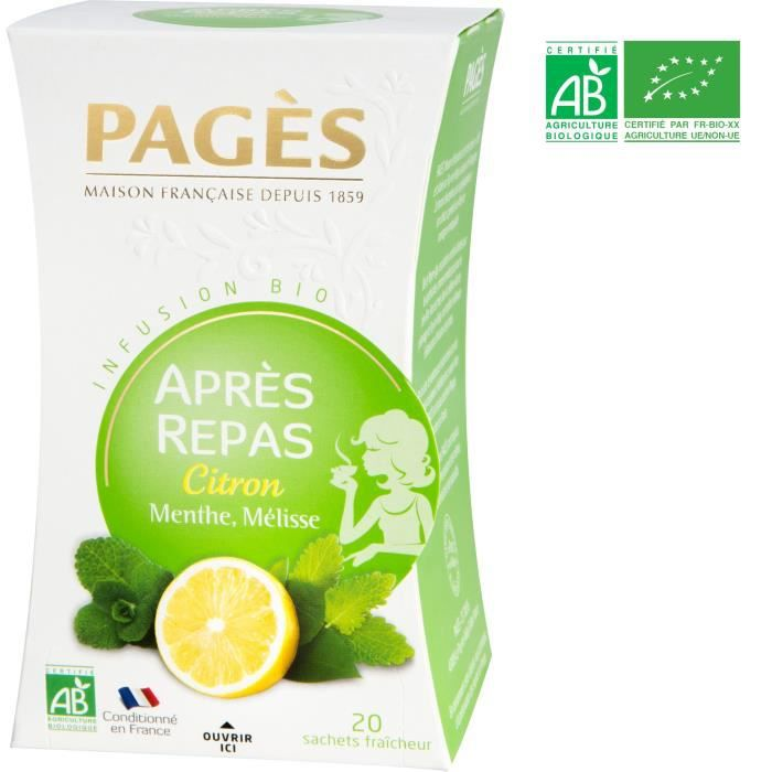 PAGES Infusion Après-Repas - Citron, Menthe, Mélisse - Bio
