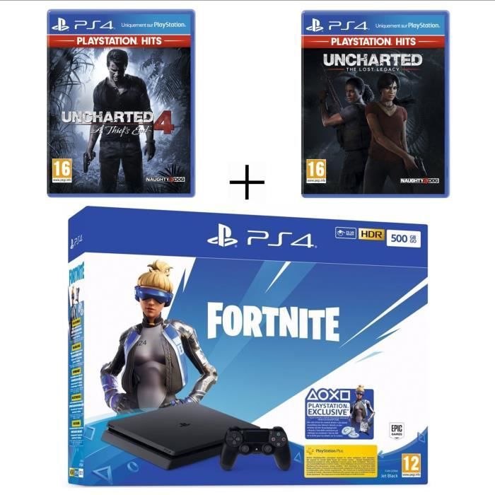 Pack PlayStation : PS4 Slim 500 Go Noire + Uncharted 4: A Thief's End PS Hits + Uncharted : The Lost Legacy PS Hits