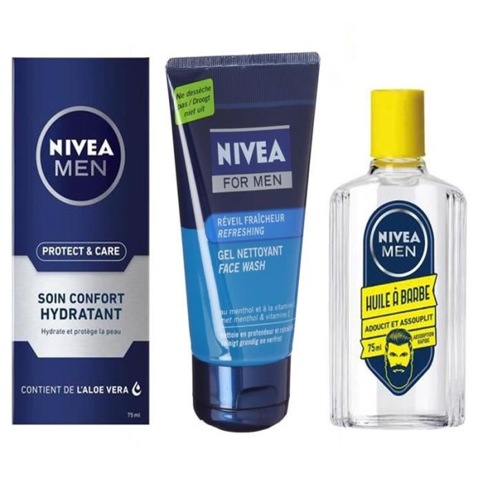 Lot Bien dans ma barbe Gel nettoyant Fraicheur Protect & care + Soin confort hydra + 1 Huile à barbe 75 ml