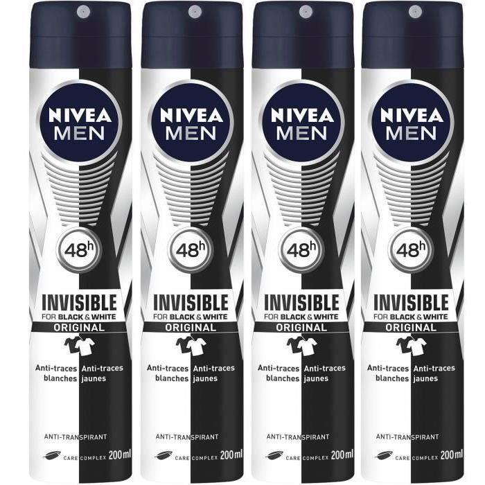 [Lot de 4] NIVEA MEN Déodorant invisible - 200 ml