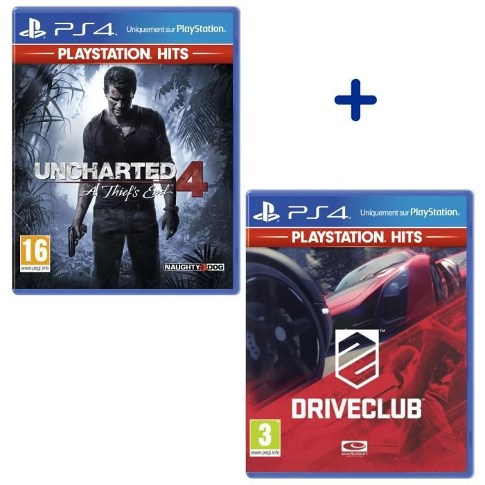 Pack 2 Jeux PS4 PlayStation Hits : Uncharted 4 A Thief's End + DriveClub