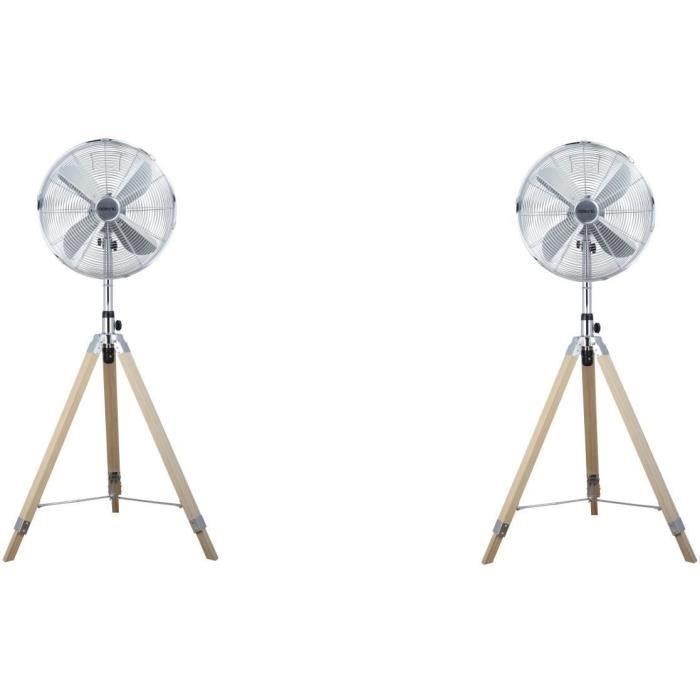 OCEANIC Ventilateur Trépied 50 W - Diamètre 40 cm - Hauteur réglable - Oscillation - Inox et Bois