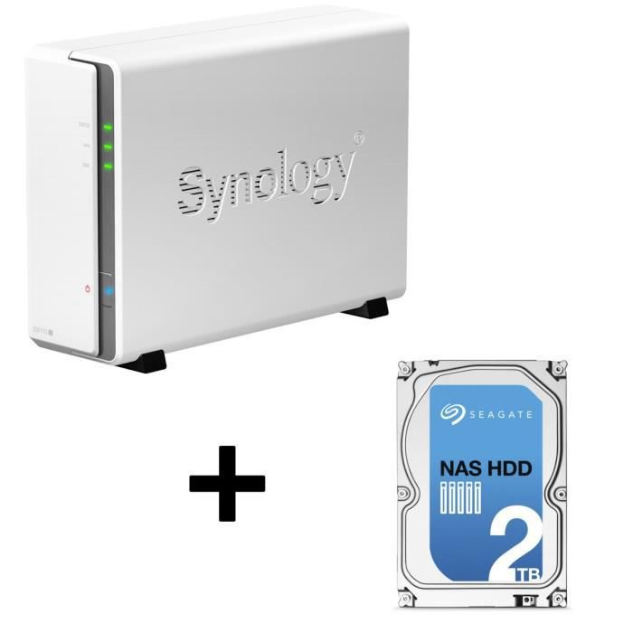 Synology NAS DiskStation DS115j 1 Baie + Seagate NAS HDD Iron Wolf 2To 3,5\