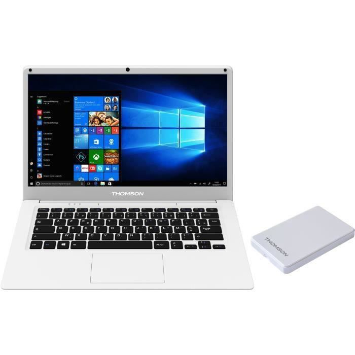 THOMSON PC Portable + Disque dur externe 120Go - 14'' HD - Intel - RAM 4Go - Stockage 64Go SSD - Windows 10 - Blanc
