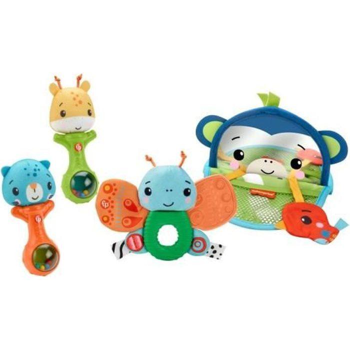 Fisher-Price - Coffret Mes Premiers Jeux, coffret cadeau avec des jouets d'éveil sensoriels - Jouet d'éveil bébé - Dès 3 mois