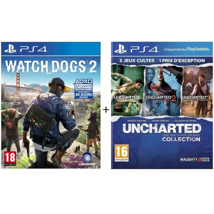 Watch Dogs 2 + Uncharted : The Nathan Drake Collection (Uncharted + Uncharted 2 + Uncharted 3