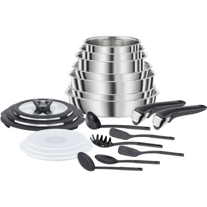 SEB L953SK04 COMPACT Batterie de cuisine 20 pièces inox induction, Poêles, Casseroles, Sauteuse, Couvercles, Spatules, Poignées