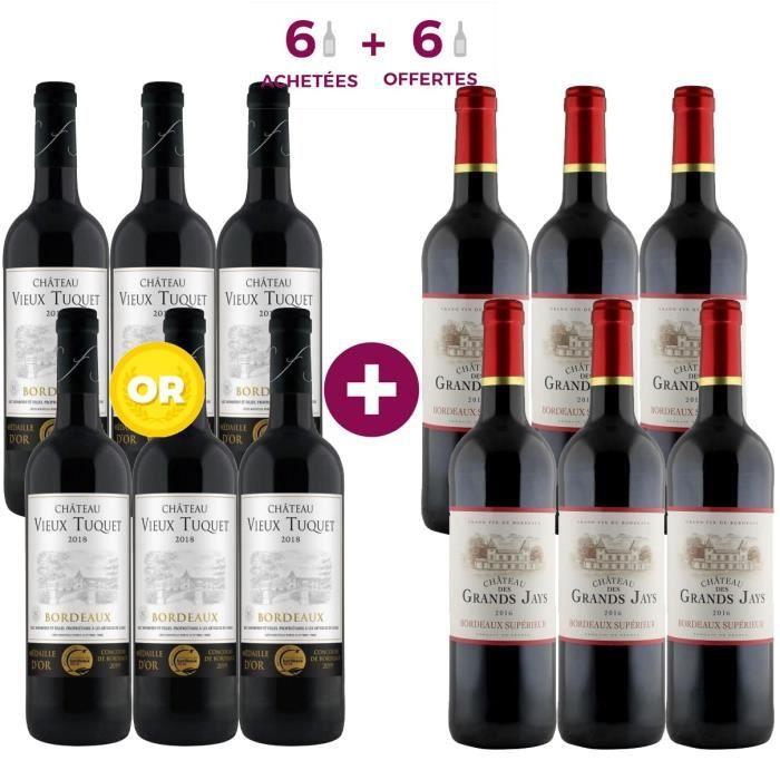 6 Château Vieux Tuquet 2018 Bordeaux ACHETEES + 6 Château Grand Jay 2016 Bordeaux Supérieur OFFERTES - Vin rouge de Bordeaux