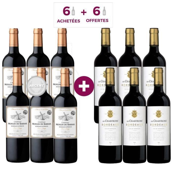 6 Château Moulin du Barrail 2014 Bordeaux Supérieur ACHETEES + 6 Les Chartrons 2016 Bordeaux OFFERTES - Vin rouge de Bordeaux
