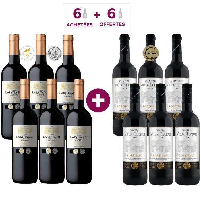 6 Château Lary Tagot 2018 Bordeaux ACHETEES + 6 Château Vieux Tuquet 2018 Bordeaux OFFERTES - Vin rouge de Bordeaux
