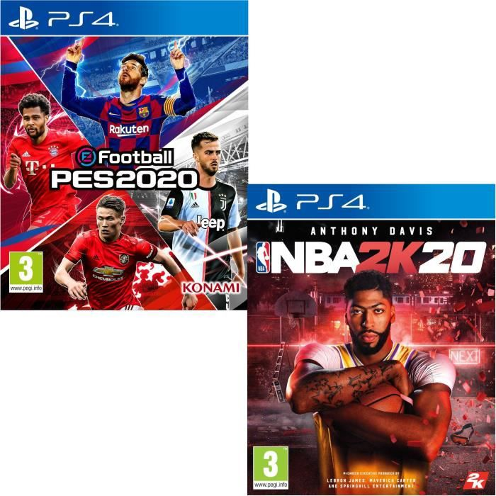 Pack Sport PS4 : eFootball PES 2020 + NBA 2K20 Jeux PS4