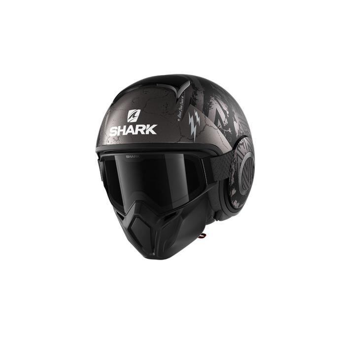 SHARK Casque moto Jet Street Drak Crower - Noir et gris anthracite