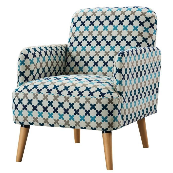 alrik fauteuil en bois massif tissu imprim bleu style scandinave l 77 x ebay. Black Bedroom Furniture Sets. Home Design Ideas