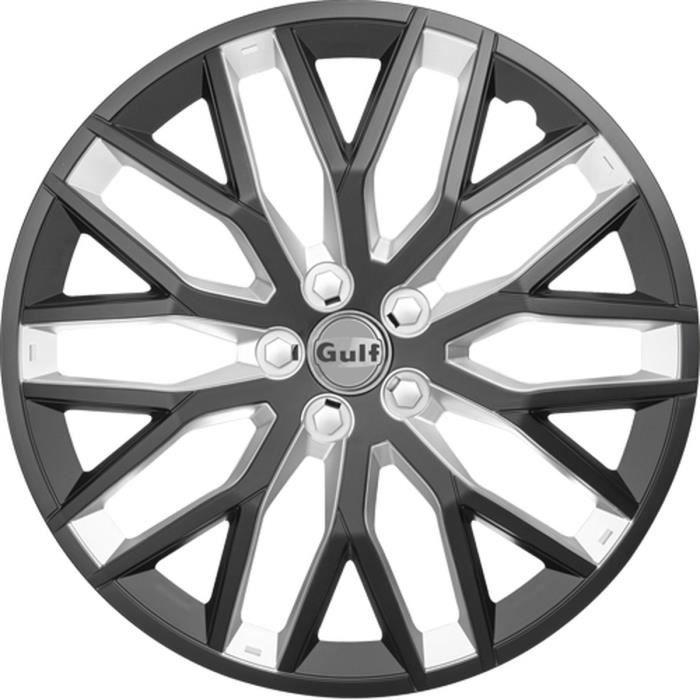 GULF GT40 4 Enjoliveurs 14 Pouces Facing Noir et Intérieur Argent