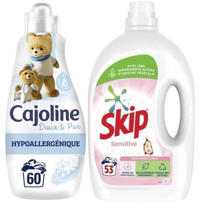 Lot soin du linge : SKIP Lessive liquide Sensitive x53 lavages et CAJOLINE Adoucissant Doux & Pur x60 lavages