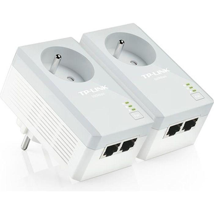 TP-Link TL-PA4025P KIT kit de 2 CPL 600 Mbps avec 2 Ports Ethernet et Prise Intégrée - Solution idéale pour profiter du service Mult