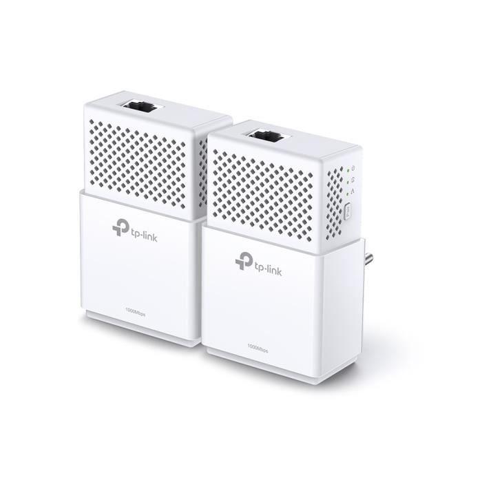 TP-LINK Pack de 2 CPL TP-LINK AV1000, 1 port Ethernet Gigabit (1000 Mbps)