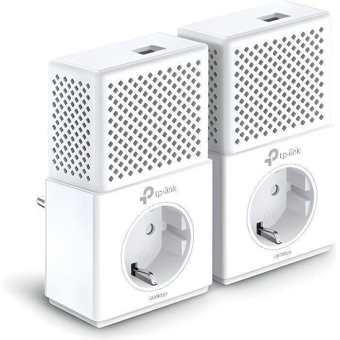 TP-Link TL-PA7010P KIT CPL 1000 Mbps avec 1 Port Ethernet Gigabit et Prise Intégrée, Kit de 2, Compatible avec tous les Anciens Modè