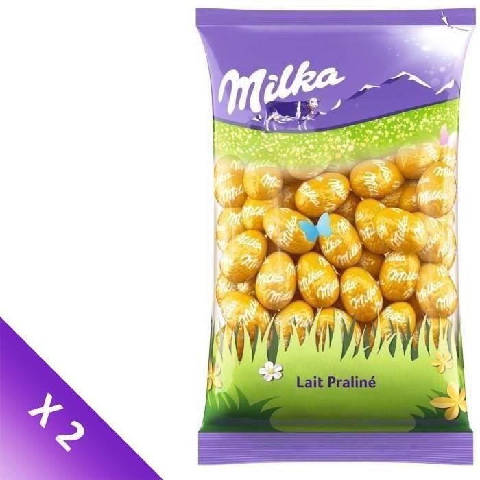 MILKA Chocolats de Pâques - Lot de 2 sachets de Petits Œufs Lait Praliné 500g