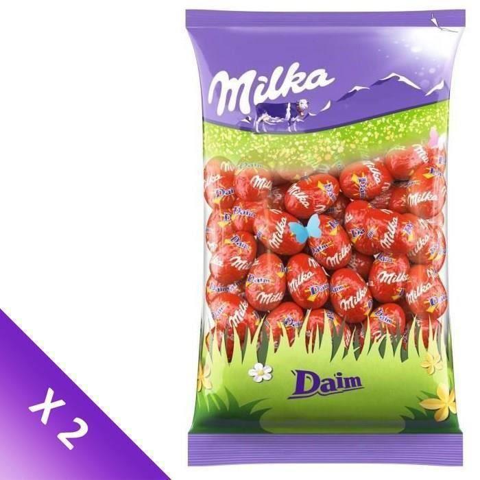 MILKA Chocolats de Pâques - Lot de 2 sachets de Petits Œufs Daim 500g