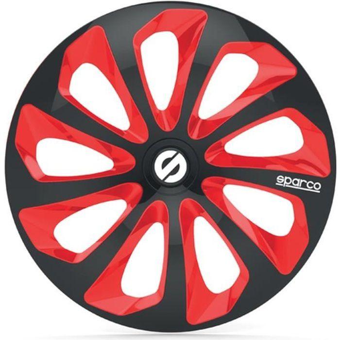 SPARCO 4 Enjoliveurs 14 Pouces Sicilia Noir et Rouge
