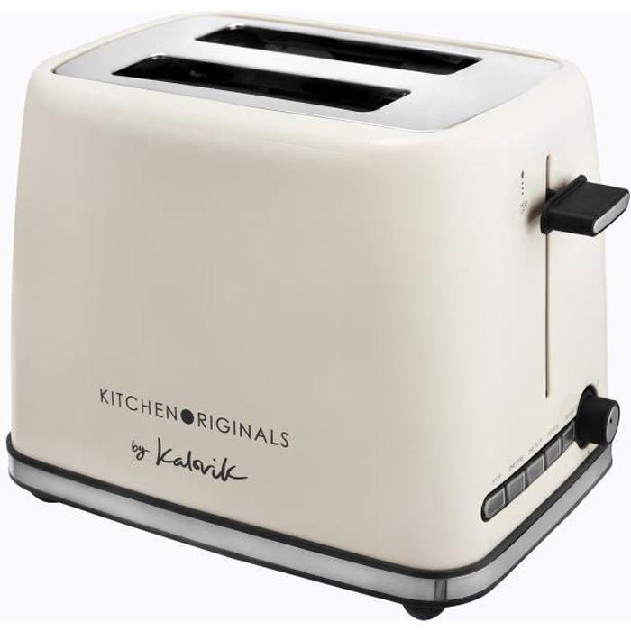KALORIK TKG TO 1014 KTO Grille-pain deux fentes large - 1200W - Niveau de brunissement réglable - Fonction décongélation-Blanc cassé