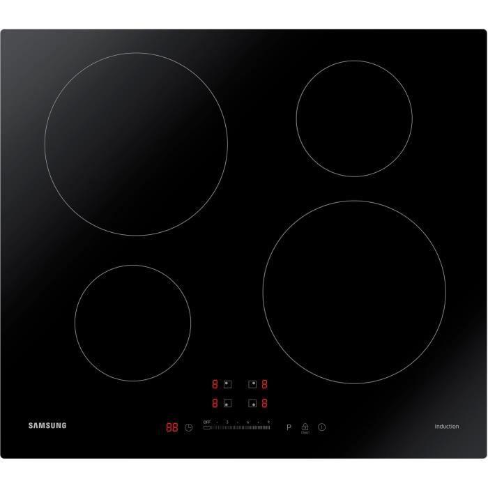 SAMSUNG NZ64M3707AK/EF - Table de cuisson induction - 4 zones - L 59 x P 57 cm - Revêtement verre - Noir
