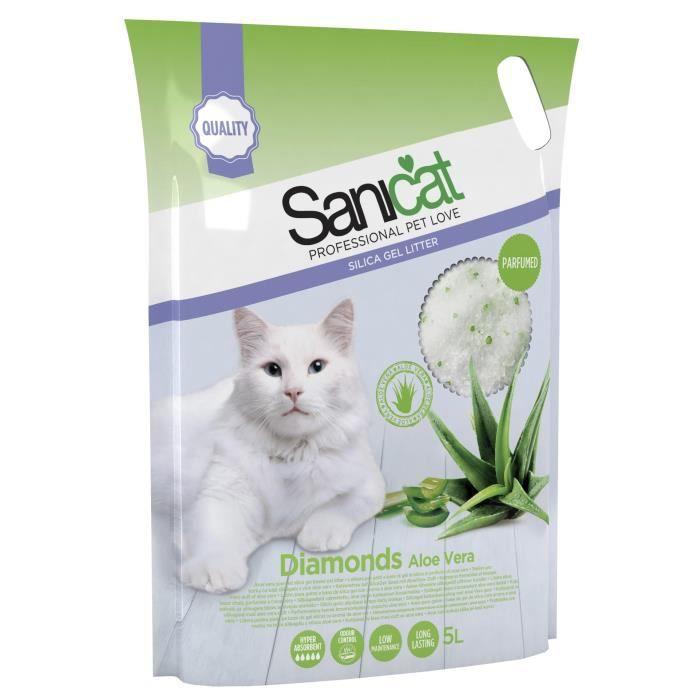 SANICAT Litière gel de silice parfumée Aloe Vera 5L - Pour chat