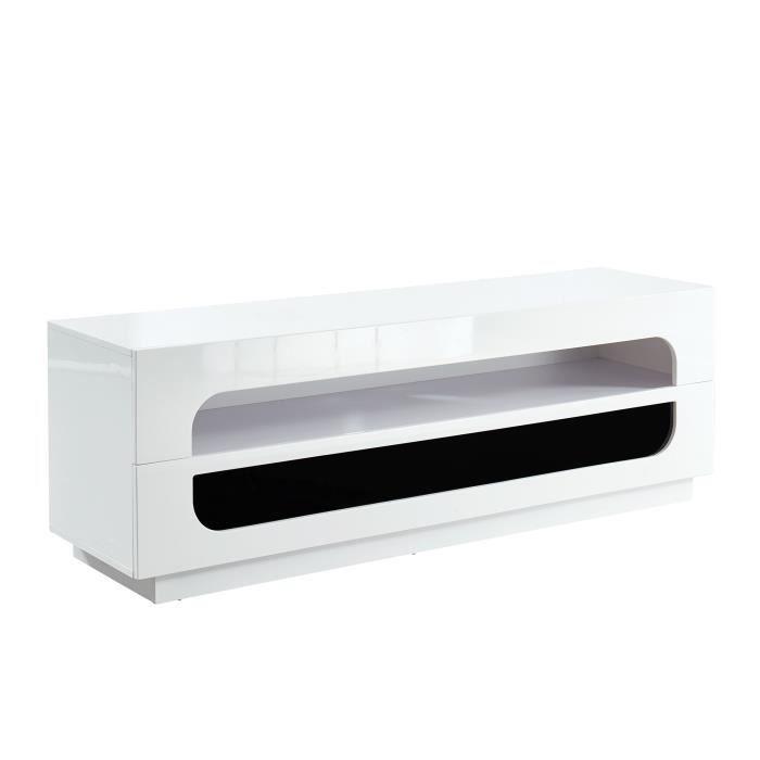 ANGEL Meuble TV bas contemporain blanc laqué brillant - L 150 cm