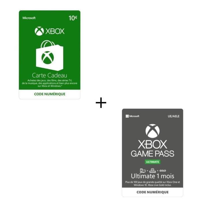 Abonnement Xbox Game Pass Ultimate 1 Mois + Code Numérique Xbox Live 10€ - Codes de Téléchargement pour Xbox One
