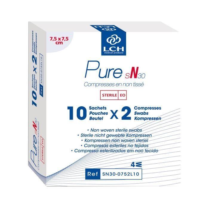 Lot de 80 boites de 20 Compresses PURE Non tissé stérile 30g 7,5x7,5 cm - Boite de 10 sachets de 2 compresses