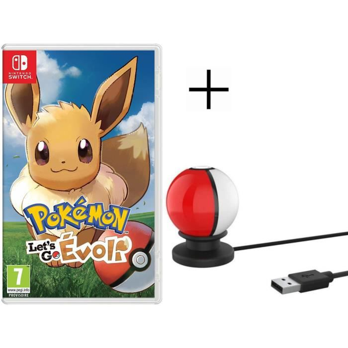 Pokémon : Let's go, Evoli Jeu Switch Pokemon Go + Stand de charge USB pour Pokeball Switch
