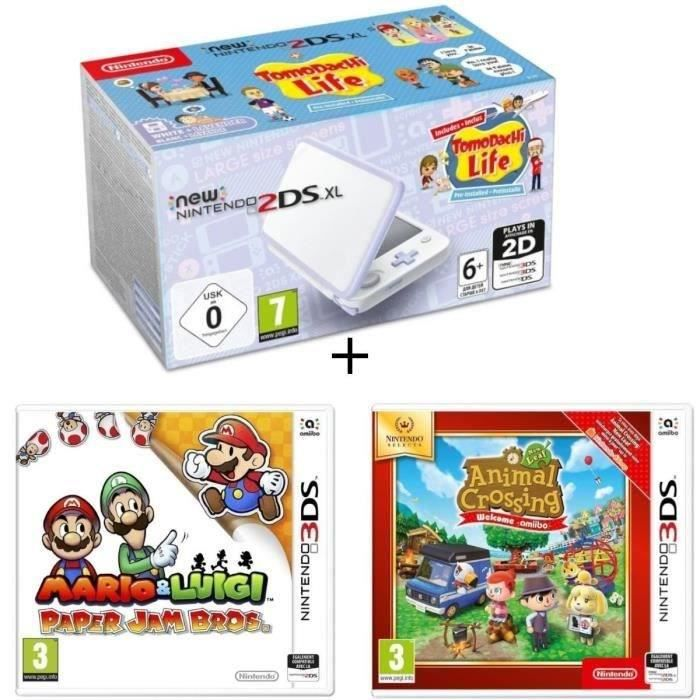 New 2DS XL Lavande et Blanc + Animal Crossing New Leaf Select + Mario & Luigi Paper Jam