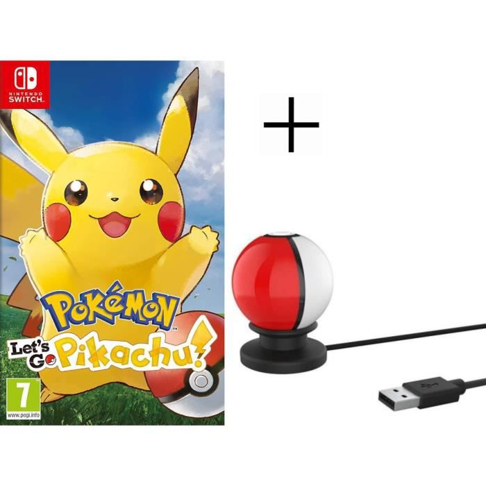Pokémon : Let's go, Pikachu Jeu Switch Pokemon Go + Stand de charge USB pour Pokeball Switch