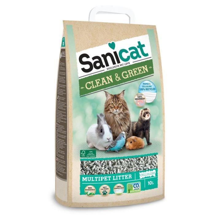 SANICAT Litière Clean & Green Cellulose 10L - Pour chat