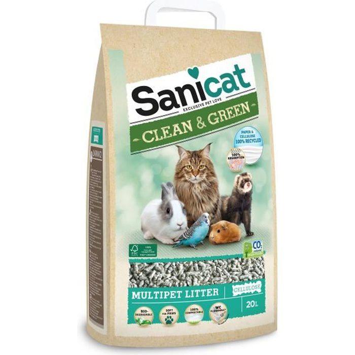 SANICAT Litière cellulose compostable et recyclable - Pour chat