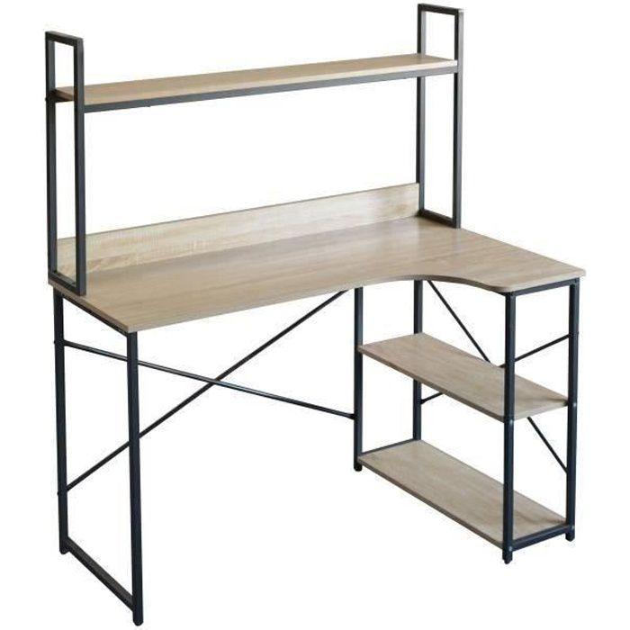 Bureau avec étagères en metal - L 120 x P 73 x H 135 cm - MANCHESTER