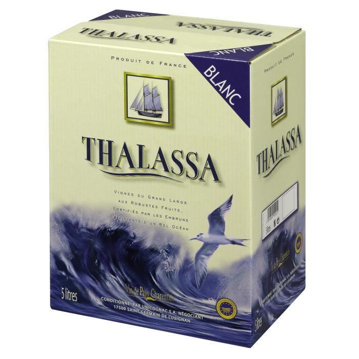 BIB Thalassa Vin de Pays Charentais - Vin blanc du Sud-Ouest - 5 L