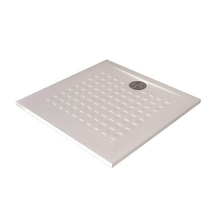 CREAZUR Receveur de douche carré à poser Résisol - 90 x 90 cm - Résine - Blanc
