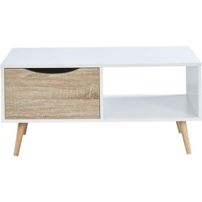 BELA Table basse scandinave blanc et décor chêne - L 90 cm