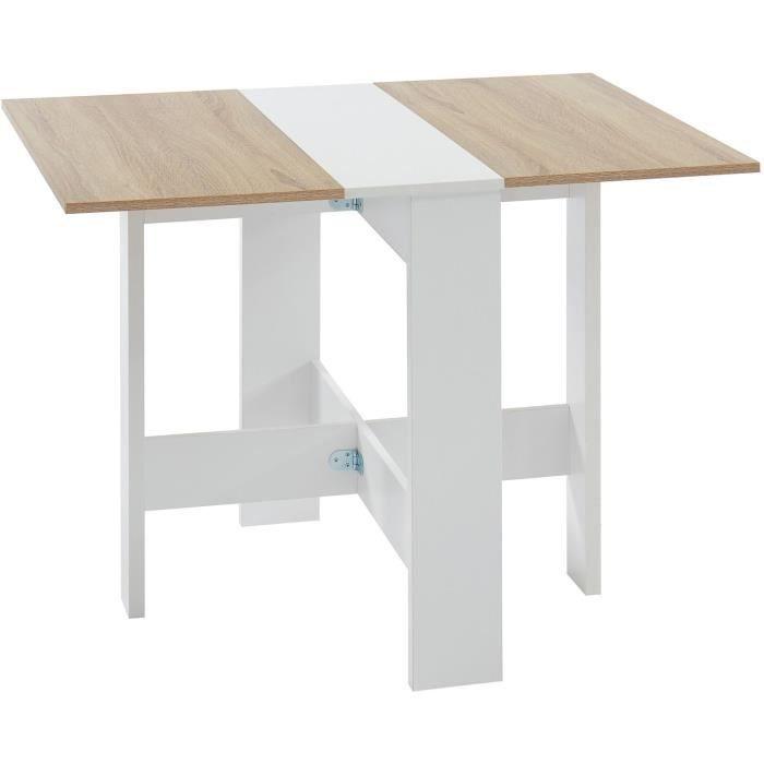 JUNO Table de séjour pliante 4 personnes - Décor chêne et blanc - L 104 x 76 x 74 cm