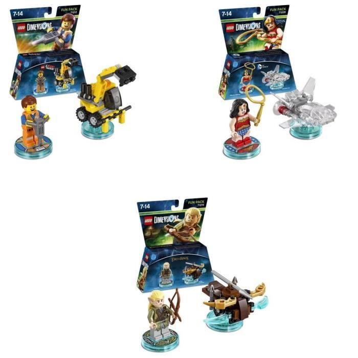 Pack de 3 Figurines Lego Dimensions : Emmet + Legolas + Wonder Woman