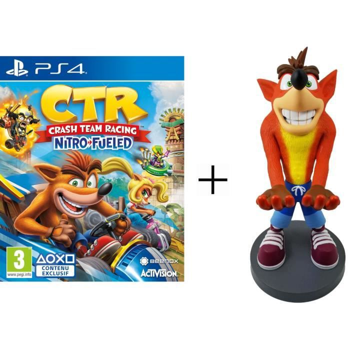 Pack Crash Bandicoot XL : Figurine support manette Cable Guy Crash Bandicoot XL + Crash Team Racing Nitro Fueled Jeu PS4